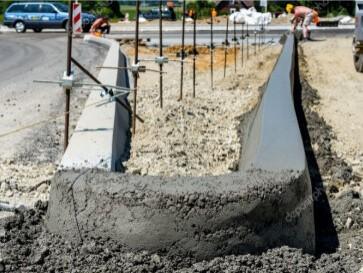 Установка бортового камня дорожного и тротуарного
